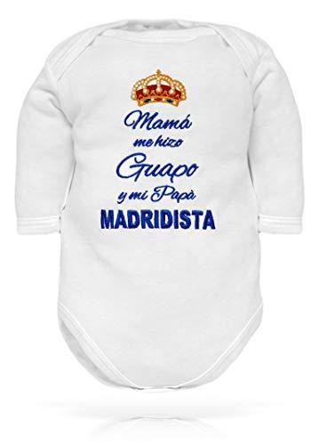 body de recién nacido con frase bordada para el nacimiento en italiano - fútbol - Mamà me hizo guapo y mi Papà Madridista - manga larga de algodón - bebe real Madrid niño 12-18 meses