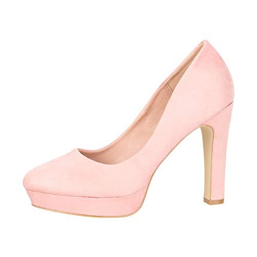 Elara Damen Pumps High Heels Vintage Abendschuh Chunkyrayan E22360-Pink-38