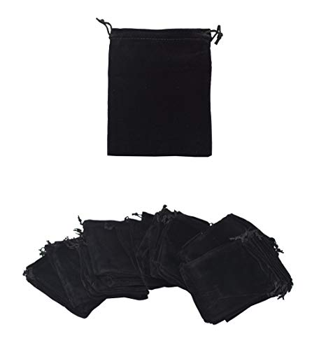 Velvet Bags with Drawstring for Jewelry, Gifts, Packaging; Cloth Plain Pouches by Mandala Crafts (Black, 3 X 4 Inches)