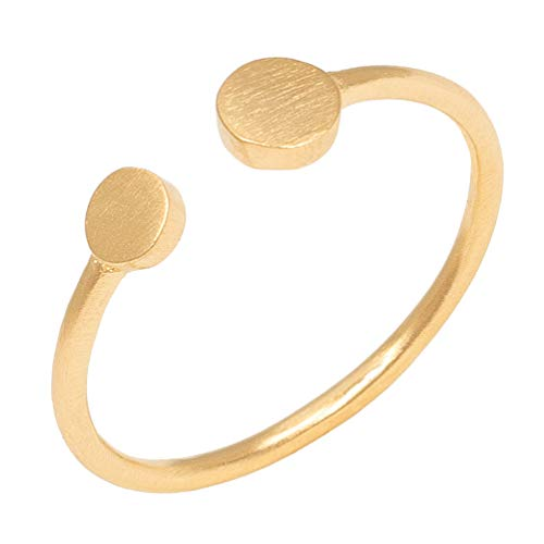 Pernille Corydon Damen Mini Coin Ring Gold - Damenring 2 mit runden Plättchen Matte Oberfläche Silber vergoldet - Größe 52 - R006g-52