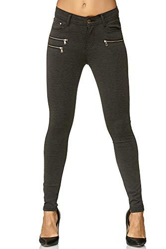 Elara Damen Stretch Hose Skinny Fit Jegging Chunkyrayan H86-6 Dk.Grey 38 (M)