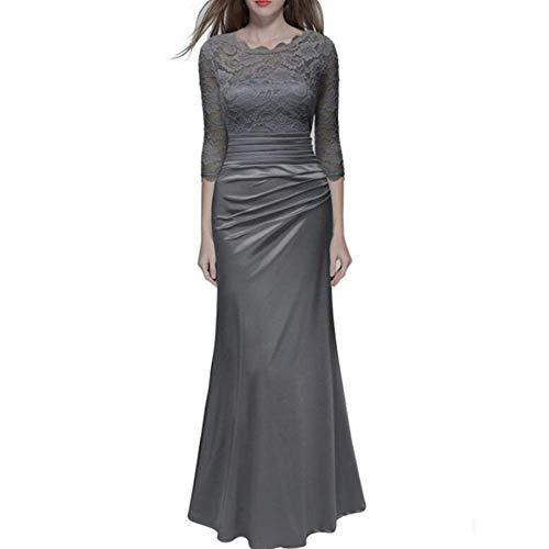 ZLDDE Damen Spitzenkleid Cocktail Kleid Formelle Lange Abend Maxi Kleider
