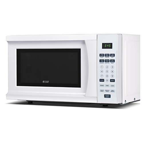 Commercial Chef Westinghouse WCM770W, White Cabin CHM770W 700 Watt Counter Top Microwave Oven, 0.7 Cubic Feet, Cabinet, 18 x 12.9 x 10.3 inches