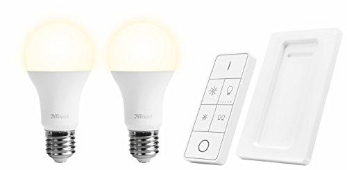Trust Smart Home 71146 Set Lampadine LED a Luminosità Regolabile Wireless e Telecomando, 230 V, Bianco