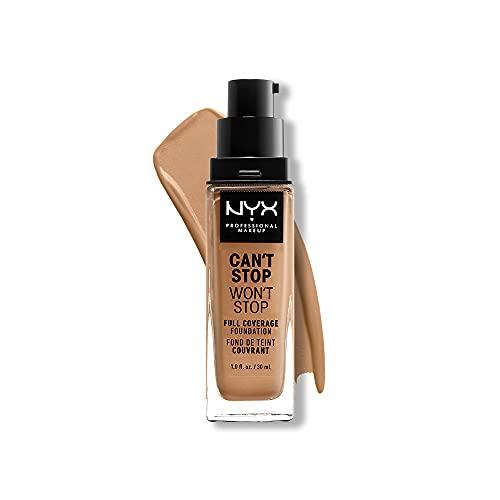 NYX Professional Makeup Can't Stop Won't Stop - Base de maquillaje con Acabado mate, 30 ml, Camel