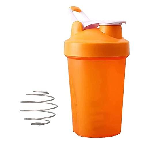 Yolluu Recipiente para batidor proteínas, 400 ml, botella agua deportiva con escamas a prueba fugas, hervidor agua contiene bucle superior bola batidor acero inoxidable perfecto regalo fitness