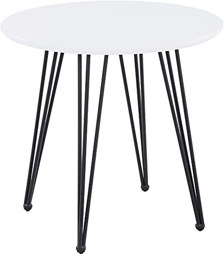 GOLDFAN Round Dining Table Retro Design Kitchen Wooden Table With Black Metal Legs for Dining Room Living Room Office, White