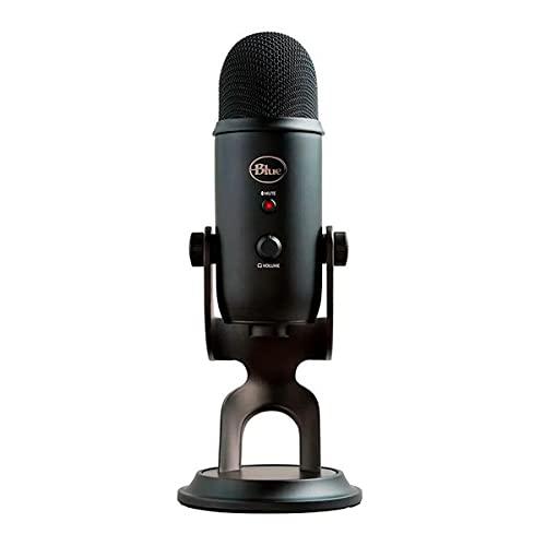 Microfone Condensador USB Blue Yeti com 4 Padrões de Captação e Conexão Plug and Play para Podcast, Gravação e Streaming em PC e Mac - Preto