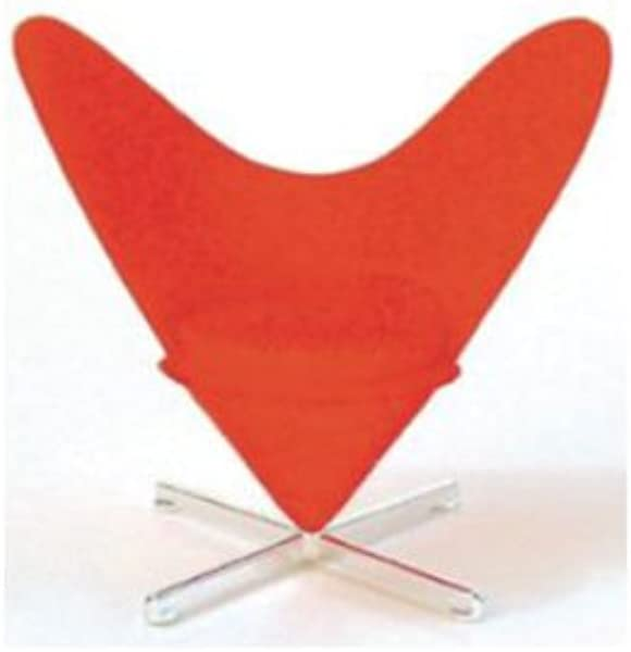 Mid Century Modern Design Miniature 1 12 Heart Shaped Cone Chair Red