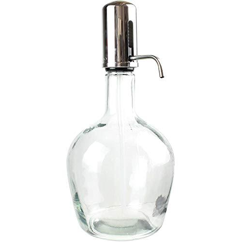 S&D Saveur et Dégustation KA1693 Distributeur Pompe Fontaine à boisson Push Bouchon à bec Transparent et gris chrome Verre 3,9L H41 x 19,5 x 21 cm