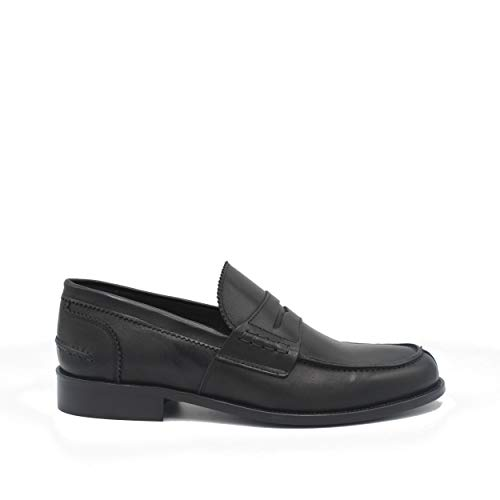 Saxone Of Scotland Sunday Loafer Black Leather/Black / 42
