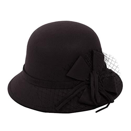 Sloater Trilby Hut, Ascot Hut Runder Zylinder Hut Gandalf Vintage Hut Weiblicher Frau Herbst Winter Beiläufiger Hut Damen Elegant Hut Kostüm Hut Deko Kostüm mit Bowknot