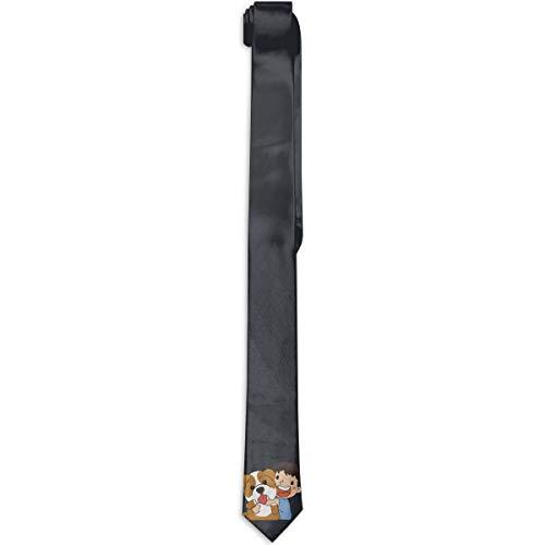 Heren Skinny Tie Bloemen Print Necktie, Jongen knuffelen Engels Bulldog Beste Voor Missies
