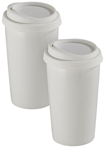 Rosenstein & Söhne Keramik Thermobecher: 2 Coffee-to-go-Becher aus Keramik, Silikondeckel, 250 ml, doppelwandig (Silikondeckel Kaffeebecher)