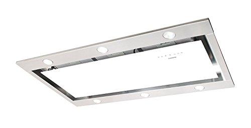 Deckenhaube Nodor 100cm/ Deckenlüfter Weißglas Edelstahl Design/ 1000m³/h Saugstarker und Leiser SilenTech Motor/Dunstabzugshaube mit LED Beleuchtung und Touch Control Steuerung