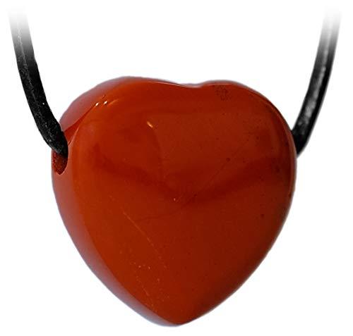 Kaltner Präsente Idea de regalo – Collar de cuero para hombre y mujer con colgante de corazón de piedras preciosas jaspe rojo (20 mm de diámetro).