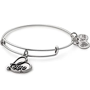 Alex and Ani Path of Symbols Expandable Bangle for Women Love Charm Rafaelian Silver Finish 2 to 3.5 in