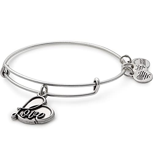 Alex and Ani Path of Symbols Expandable Bangle for Women, Love Charm, Rafaelian Silver Finish, 2 to 3.5 in