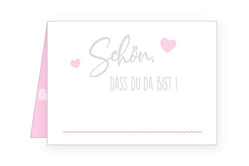 Edition Seidel Set 50 Premium Tischkarten Platzkarten Namenskarten Hochzeit - Geburtstag - Taufe - Kommunion - Konfirmation - Feier (Rosa/Pink, 50 Karten)