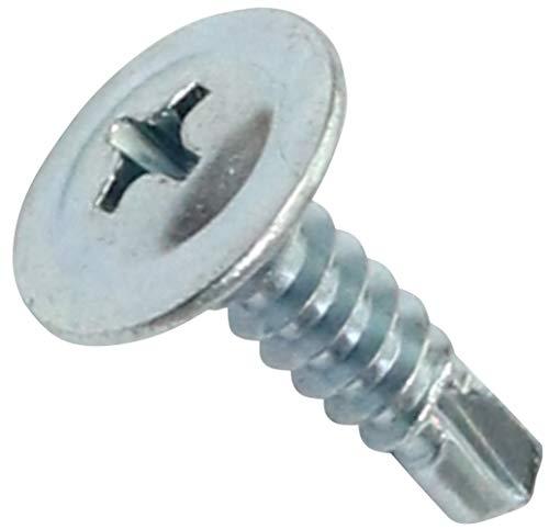 AERZETIX - C44675 - Packung mit 100 Stück - Selbstbohrende Schrauben - Schneidschrauben - Blechschraube - Großer gewölbter Kopf - Ø4.2x16mm