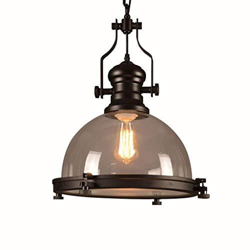 Colgante Loft Retro Industrial Pot Shape Hierro forjado negro Cristal transparente E27 Lámpara colgante Lámpara