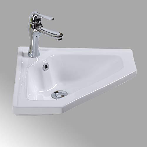 Renovators Supply Manufacturing Alexander II Modern Bathroom Wall Mount Corner Sink White with Overflow