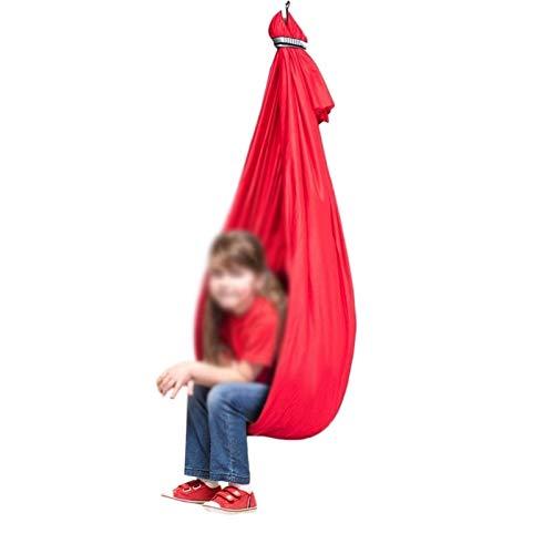 LICHUXIN Columpio de terapia incluido con necesidades especiales hamaca ajustable para niños, columpio de yoga aéreo activo ideal para autismo ADHD Sensorial (color: rojo, tamaño: 150 x 280 cm)