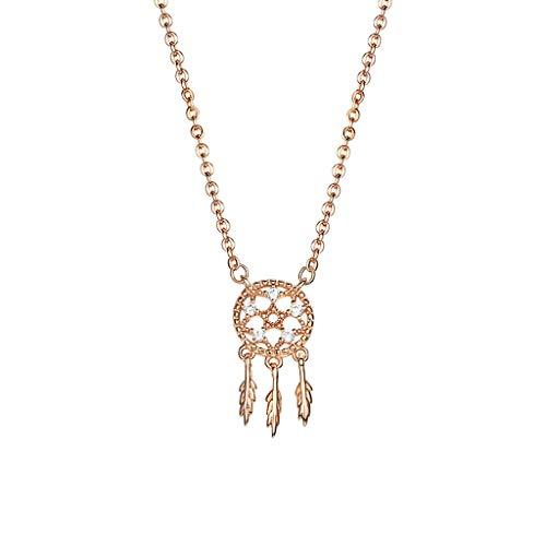 xinxinchaoshi Joyas de Moda Dreamcatcher Collar Femenino de Plata esterlina clavícula Cadena de joyería Temperamento no se desvanece Mujer de Regalo Collar Collar para Mujer