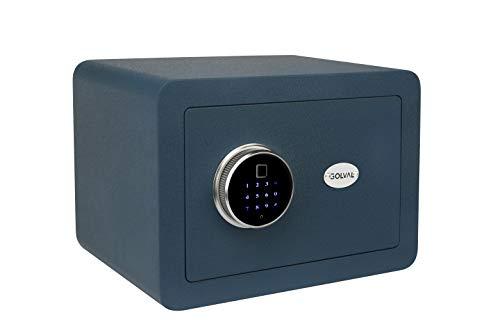 Golval EF25 Sicherheitssafe aus Stahl, biometrischer Fingerabdruck, Schnellzugriff, Tresor mit neuartigem Tastenfeld-Modul, breit, solider Stahl-Safe für Bargeld, Schmuck, Waffen, Wertsachen (blau)