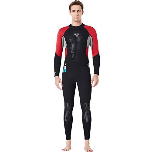 MOTOCO Herren Tauchanzug Schnorchelanzug Kurzarm mit Sonnenschutz Einteiler Badeanzug Wetsuit Surfanzug mit Rückenreißverschluss(L,Rot)