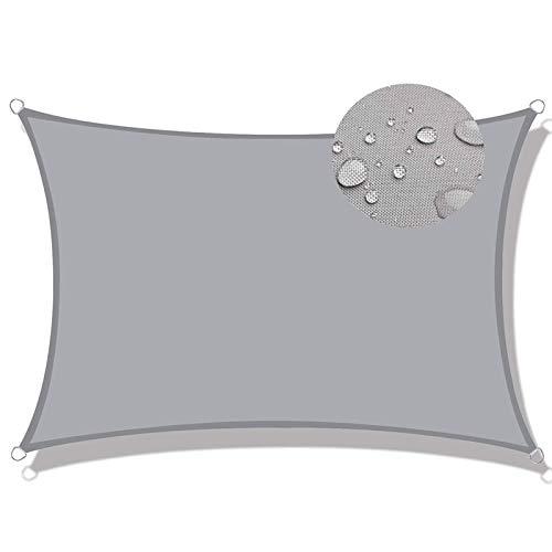 Aibingbao Toldo Vela de Sombra 3x5m Resistente y Transpirable, Toldo Vela IKEA Impermeable, para Patio, Exteriores, Jardín, Gris