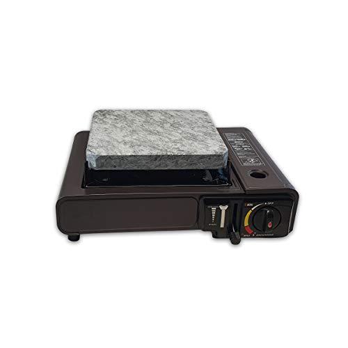 Piedra para Carne de 20x20 con Cocina Portatil y Dos Cartuchos de Gas