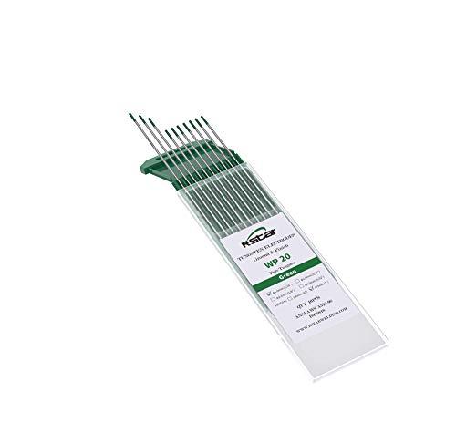 TIG Soldadura electrodos de tungsteno WP Puro (Punta Verde) Contiene 99,5% de tungsteno Ø1,6X175mm 10 electrodos - No radioactive