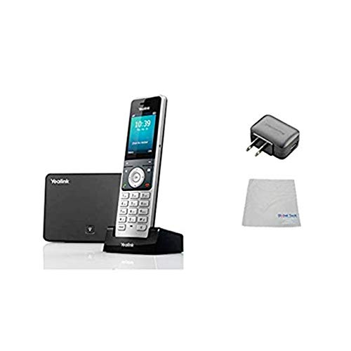 Global Teck Bundle of Yealink W60P IP Cordless Phones Office Bundle-DECT Handset and Base Unit, Power Supply and Microfiber Cloth   Requires VoIP Service (Yealink W60P Base and 1 handset)