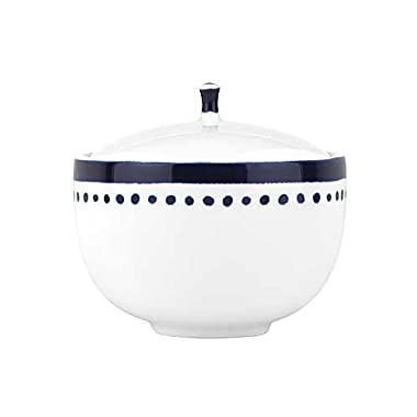 Kate Spade New York Charlotte Street White and Blue Porcelain Sugar Bowl with Lid, 4.3