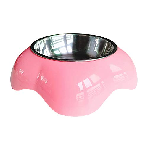 POEwjCCk Non-Slip and Drop-Resistant Drinking Water Pet Food Bowl,Pet Dog Stainless Steel Feeding Bowl Anti Skid Food Water Dish Storage Container Pink S