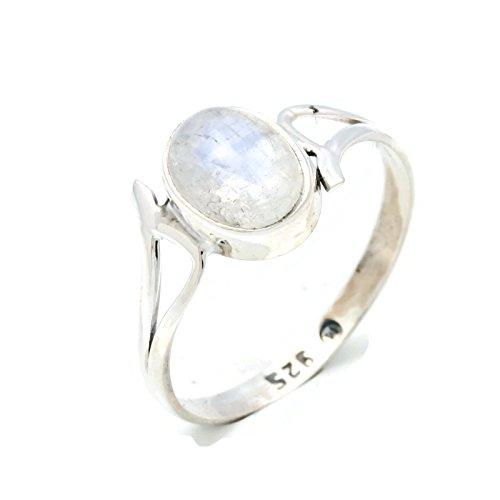 Ring Silber 925 Sterlingsilber Regenbogen Mondstein weiß Stein (Nr: MRI 141), Ringgröße:62 mm/Ø 19.7 mm