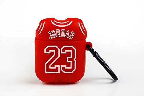Wondee Global Services Funda Protectora para Airpods Apple - Diseño Camiseta 23 Michael Jordan, con mosquetón Anti pérdida. Compatible con Airpods 1 & 2, Rojo, estandar