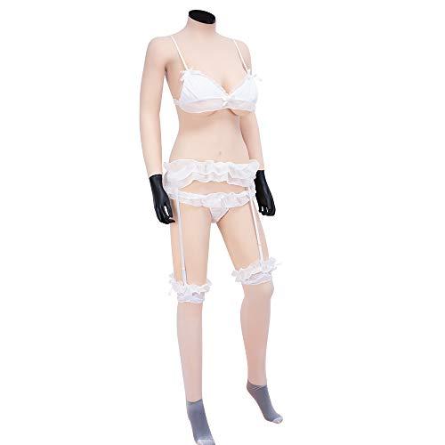 KUMIHO Silikonbrüste Brustprothese künstliche brüste Vagina Slip Bodysuit mit Katheter für Transgender Crossdresser - Vierte Generation - D Cup