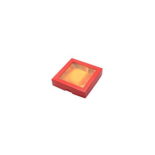 NBEADS Schachtel, 120 Stück, 9 X 9 cm, Quadratisch, Mit Fenstern, Rote Perlen, Papier, Geschenk-Box Für Schmuck, Armband, Halskette, Basteln, Geschenk, Armreif, Display Und Aufbewahrung. Rot