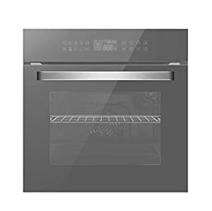 Empava 24 Inch Electric Single Wall Oven 10 Cooking Functions Deluxe 360° ROTISSERIE with Sensitive Touch Control in Silver Mirror Glass