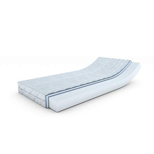MSS® Revasana Premium ohne Zonen-Matratze 130 x 200 cm - H4 ab 100 kg = hart mit versteppten Klimafaserbezug