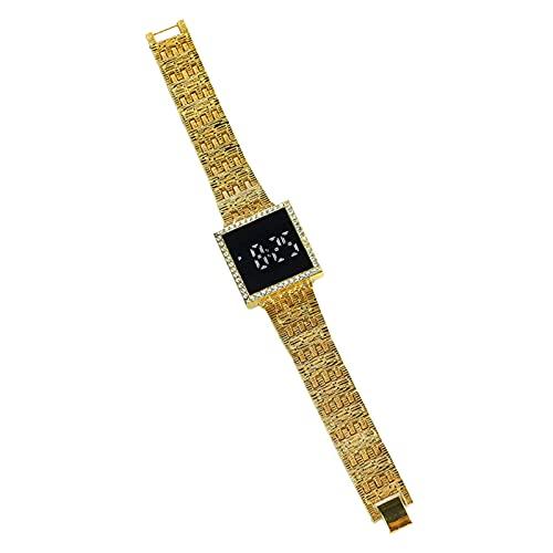 Reloj digital LED para deporte diario joyería femenina reloj electrónico Rhinestone incrustado Dial cuadrado reloj de pulsera