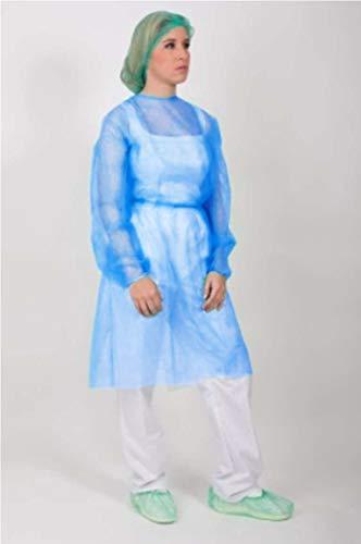 Bata protección médica desechable. Pack 10 Ud. Azul con cierre trasero con cintas