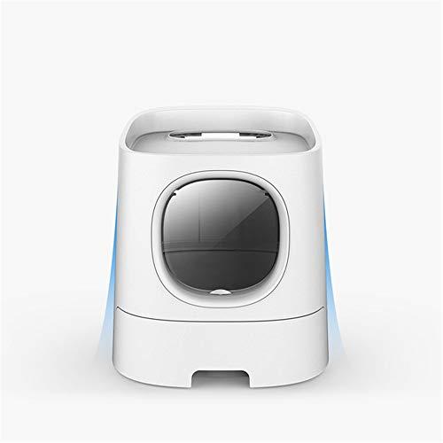 XYBB Katzenklo Katzentoilette Semi Closed Smart Deodorization Splash Proof Pet Toilet Box Handy-Monitor 41 * 44 * 54cm Weiß