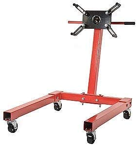 JEGS Engine Stand | Red Finish | 1250 LBS Capacity | 360 Degree Adjustable Mounting Head | Easy Assembly | Disassembly | 4 Ball-Bearing Swivel Caster Wheels | Heavy-Duty Square Steel Frame