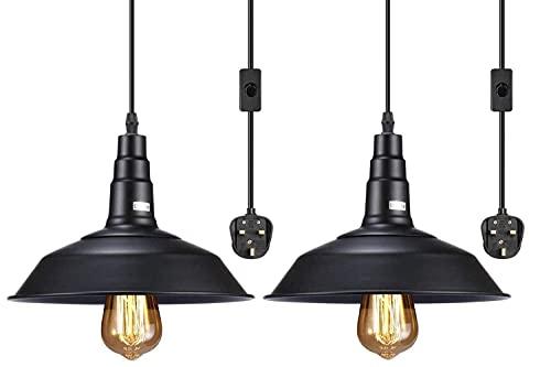 2-pack kontakt i pendelljus, industriell hängande ljussladd med på/av-brytare, vintage svart hängande ljusarmatur