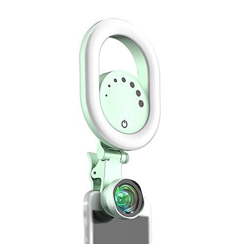 ZJING Weiches Licht Externe Weitwinkel-Makro-Handy-Objektiv HD Live-Fülllicht 3000-6500K Super Breite Farbtemperatur, Hohe Lichtqualität Und Praktisch,Grün