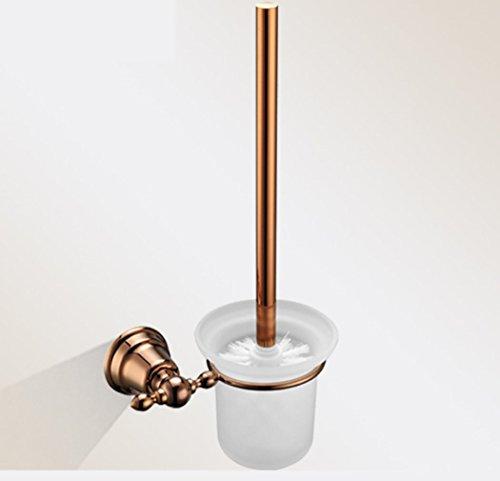 LD&P Salle de bains mural brosse de toilette en acier inoxydable Rose or couleur ronde porte-brosse à toilette brosse blanche tête simple accessoire de nettoyage