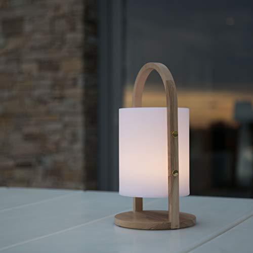 Lumisky - Farol de jardín con asa de madera inalámbrica sobre batería WOODY LED (polietileno rotomolado, 19 x 37 cm)